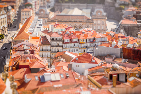 Aerial cityscape view on the old town of Porto city during the sunny day in Portugal