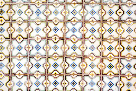 Beautiful portuguese facade tiles pattern called Azulejo Imagens