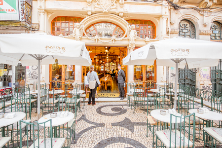 PORTO, PORTUGAL - September 25, 2017: View on the entrance of famous Majestic cafe in Porto city, Portugal