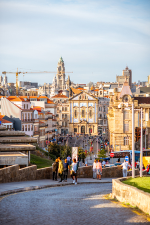 PORTO, PORTUGAL - September 23, 2017: Cityscape view with beautiful buildings, church and city hall tower in Porto city, Portugal 報道画像