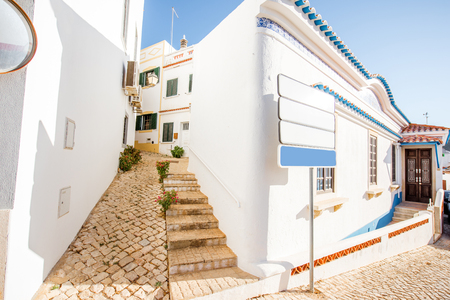 Typical village with white houses during the sunrise on the south of Portugal 写真素材