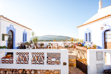 Beautiful terrace with landscape view in Alte village on the south of Portugal 版權商用圖片