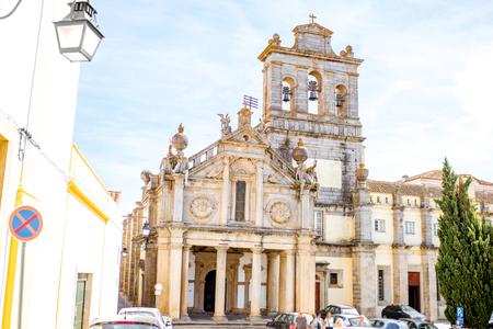 View on the facade of the Convento de Nossa Senhora da Graca church in Evora city, Portugal