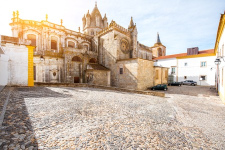 View on the main cathedral in the old town of Evora city, Portugal