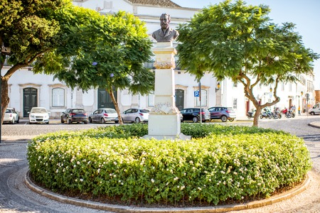 Statue in the garden of Manuel Bivar in Faro city on the south of Portugal