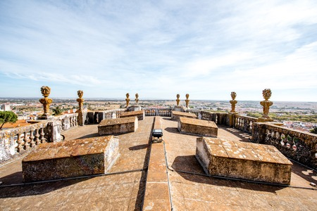View on the terrace of the main cathedral of Evora city in Portugal Stock Photo