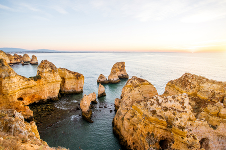 Beautiful landscape view on the rocky coastline on Ponta da Piedade near the Lagos city on the south of Portugal