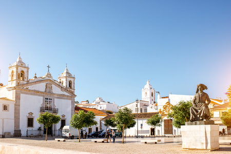 Cityscape view on the center of the old town with santa Maria church in Lagos on the south of Portugal