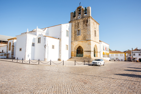 FARO, PORTUGAL - October 02, 2017: View on the central cathedral in Faro old town on the south of Portugal Редакционное