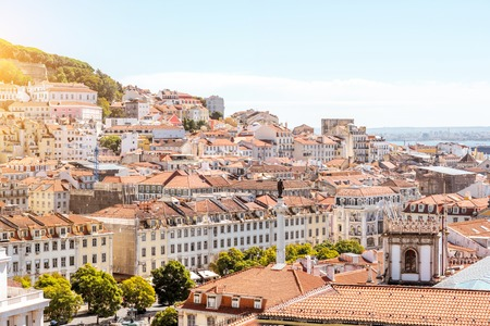Cityscape view on the old town with Pedro IV statue in Lisbon city, Portugal Stock fotó - 90613488