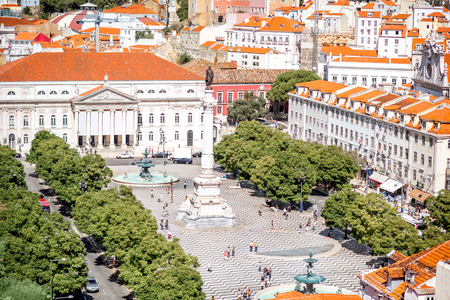 Cityscape view on the old town with Rossio square during the sunny day in Lisbon city, Portugal