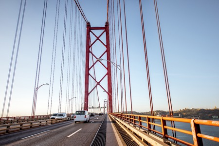 Driving on the famous 25th of April bridge in Lisbon city, Portugal Stok Fotoğraf - 90614637