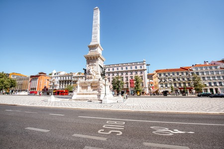 View on the Rossio square with Pedro IV statue in Lisbon city, Portugal Stock fotó