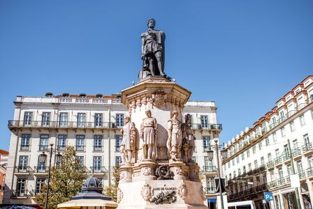 View on the statue of Luiz Camoes on the square in Lisbon city, Portugal