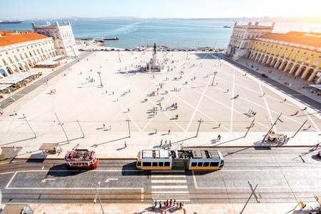 Top view on the Commerce square in the centre of Lisbon city during the sunny day in Portugal