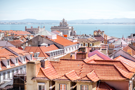 Cityscape view on the old town with Augusta arch in Lisbon city, Portugal