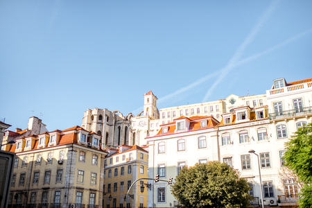View on the buildings with Convent of Our Lady church in Lisbon city, Portugal 版權商用圖片