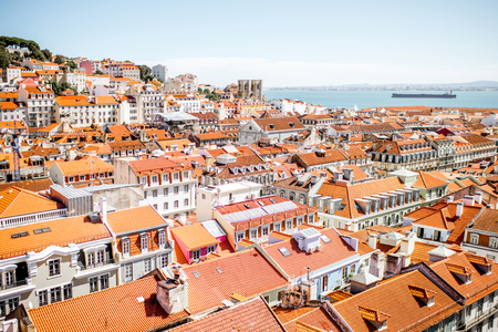 Cityscape view on the old town during the sunny day in Lisbon city, Portugal Banco de Imagens