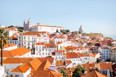 Cityscape view on the old town in Alfama district during the sunny day in Lisbon city, Portugal Reklamní fotografie - 90666887