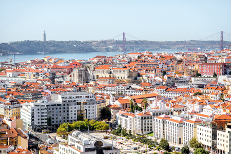 Cityscape view on the Lisbon city with famous bridge during the sunny day in Portugal Stock fotó - 90666965