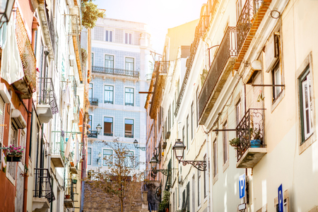 Street view with beautiful old buildings in Lisbon during the sunny day in Portugal 版權商用圖片 - 90774663