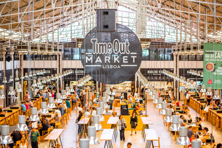 LISBON, PORTUGAL - September 29, 2017: Interior view on the famous Time Out Market full of people in Lisbon city, Portugal