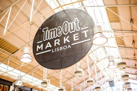 LISBON, PORTUGAL - September 29, 2017: Signboard of Time Out food market in Lisbon city, Portugal