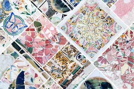 Beautiful collage of different traditional portuguese floral tiles called azulejos Banco de Imagens - 90669994