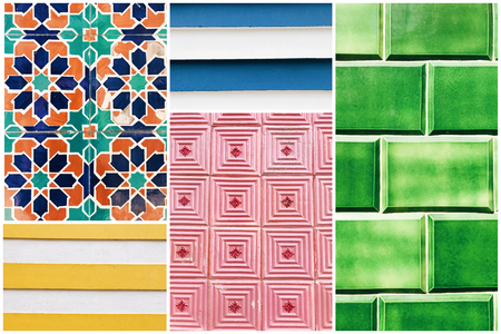 Beautiful collage of different coloful tile patterns