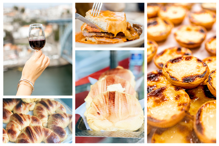 Collage of traditional portuguese food Francesinha, Pastel de Nata, Croissant and Porto wine Imagens