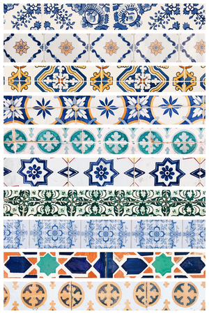 Beautiful collage of different traditional portuguese tiles called azulejos Banco de Imagens - 90670060