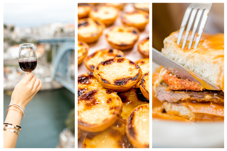 Collage of traditional portuguese food Francesinha, Pastel de Nata and Porto wine