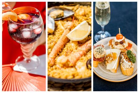 Collage of spanish traditional cuisine. Sangria drink, Paella and Pinchos snacks