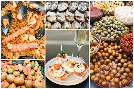 Collage of different traditional spanish cuisine at the market in Valencia