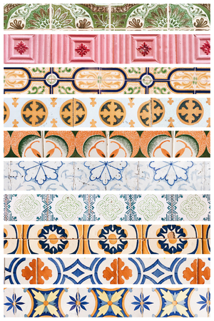 Beautiful collage of different traditional portuguese tiles called azulejos Banco de Imagens - 90670095