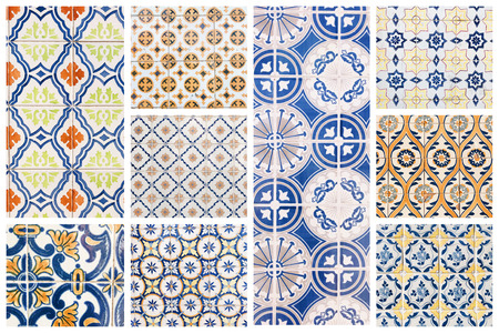 Beautiful collage of different traditional portuguese tiles called azulejos Banco de Imagens - 90670097