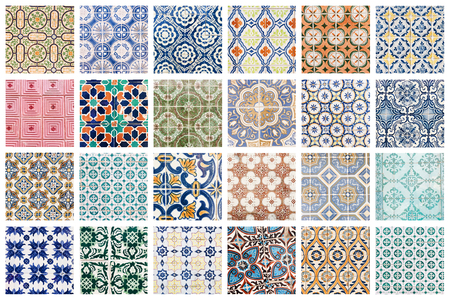 Beautiful collage of different traditional portuguese tiles called azulejos 免版税图像 - 90670098