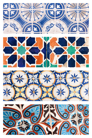 Beautiful collage of different traditional portuguese tiles called azulejos Banco de Imagens - 90670102