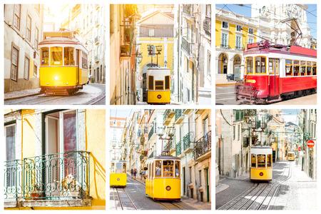 Fotocollage met beroemde retro toeristische trams in Lissabon, Portugal Stockfoto