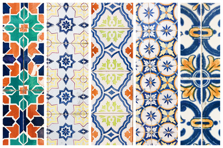 Beautiful collage of different traditional portuguese tiles called azulejos Banco de Imagens - 90670146