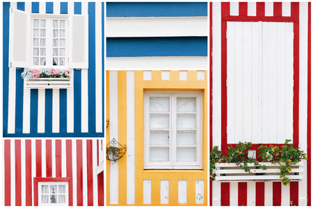 Diversity of the beautiful striped colorful house facades with windows