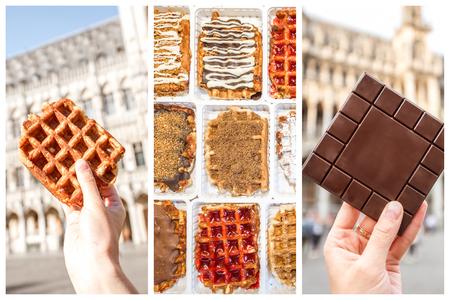 Collage de fotos con brussesls chocolate y waffles al aire libre Foto de archivo - 90670204