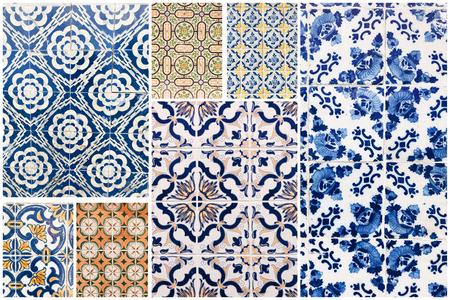 Beautiful collage of different traditional portuguese tiles called azulejos Banco de Imagens - 90670246