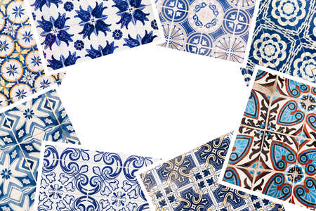 Beautiful collage of different traditional portuguese tiles called azulejos Banco de Imagens - 90670251