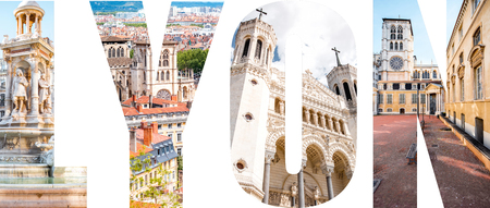 Lyon letters filled with pictures of famous places in Lyon city, France 写真素材 - 90670688