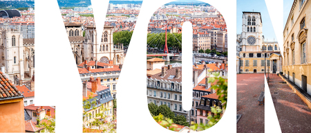 Lyon letters filled with pictures of famous places in Lyon city, France 版權商用圖片