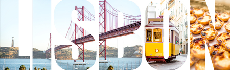 Lisbon letters filled with pictures of famous places, traditional portuguese food in Lisbon city, Portugal Stock Photo