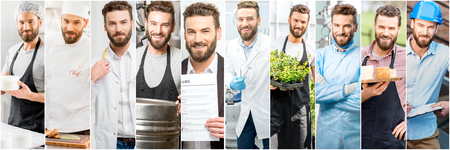 Collage of portraits of a handsome man with different professions Stock fotó