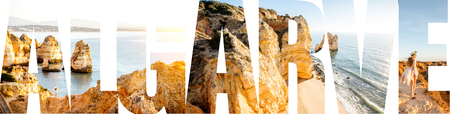 Algarve letters filled with pictures of the beautiful landscapes from this region in Portugal