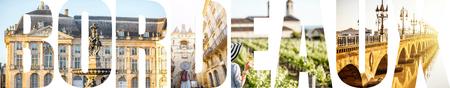 ボルドー市の有名な場所や街並みの写真で満たされたボルドーの手紙, フランス 写真素材